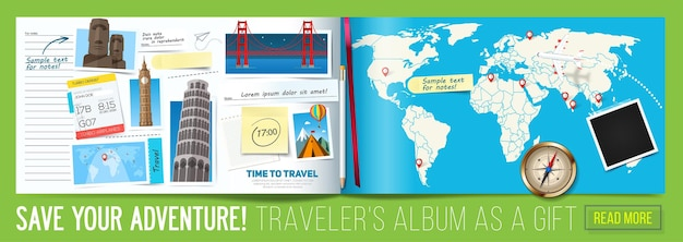 Banner de viagem estiloso com álbum aberto