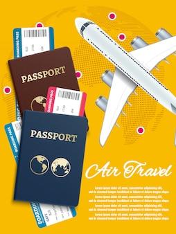 Banner de viagens aéreas com bilhetes de avião mundo globo