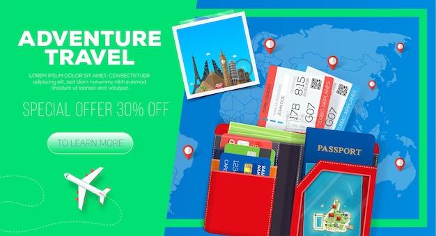 Banner de viagens de aventura com carteira do passaporte e ingressos para viagens de negócios Vetor Premium