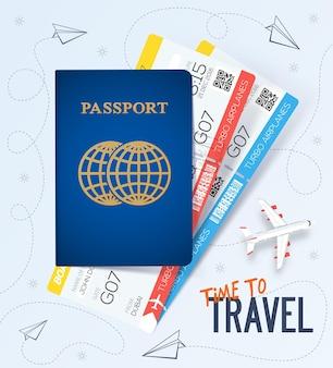 Banner de viagens modernas com passaporte e ingressos.