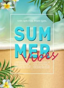 Banner de vibrações de verão com areia com raios de sol, folhas tropicais e ondas do mar