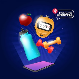 Banner de vida saudável com elementos de exercício