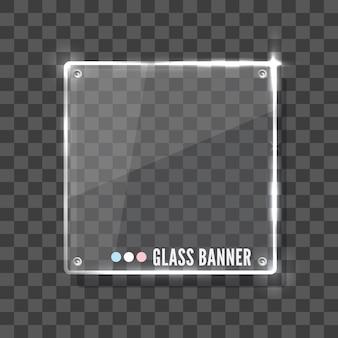 Banner de vidro brilhante em fundo cinza
