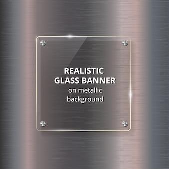Banner de vidro em aço fundo metálico.