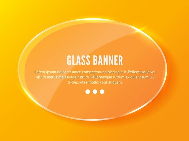 Banner de vidro realista em fundo laranja