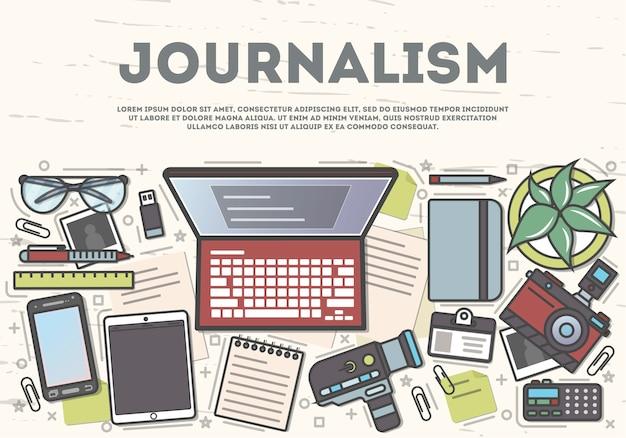 Banner de vista superior do jornalismo no estilo de arte linha