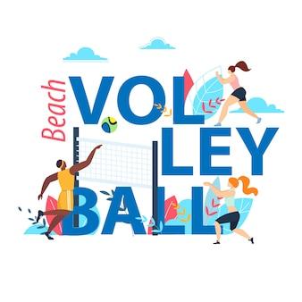 Banner de voleibol de praia com tipografia, equipes de esportes jogando com a bola na beira-mar