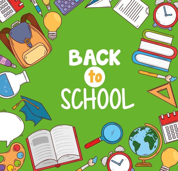 Banner de volta à escola com conjunto de ícones de educação de suprimentos