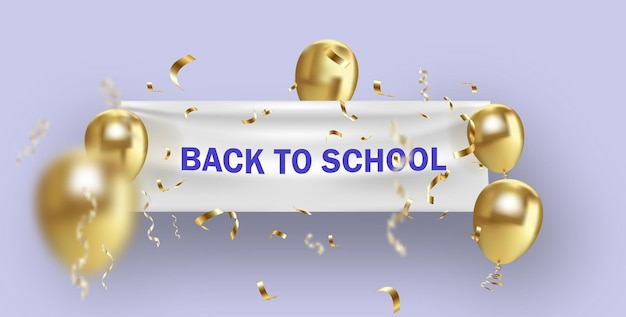 Banner de volta às aulas com balões de confete dourados