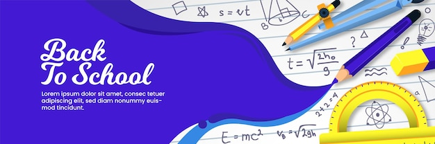 Banner de volta às aulas com fórmula rabisco