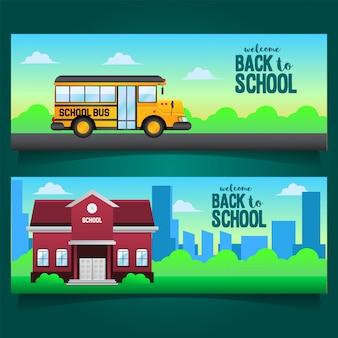 Banner de volta para a escola com ilustração de escola de ônibus