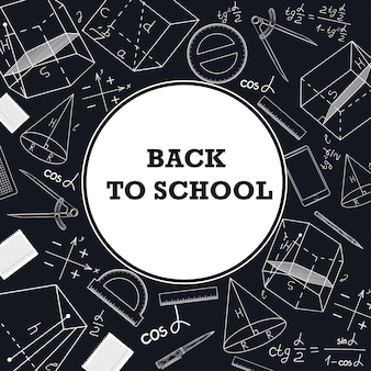 Banner de volta para a escola com uma foto de material escolar.