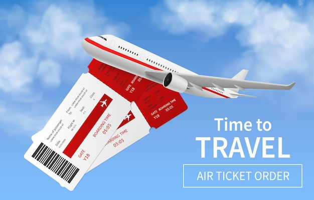 Banner de voos. avião realista no céu, transporte internacional, viagem de férias no exterior, entrega expressa do ar, bilhete online reservado, vetor de serviço promocional de voo pôster 3d com espaço de cópia