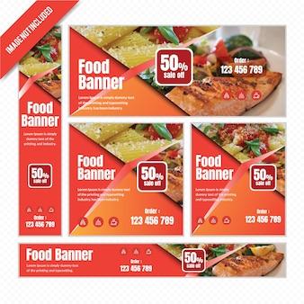 Banner de web de alimentos definido para restaurante com desconto.