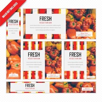 Banner de web de alimentos definido para restaurante