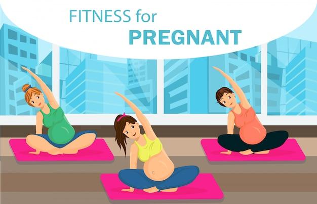 Banner de web de classe de aptidão de mulheres grávidas