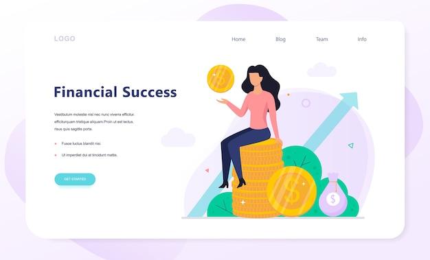 Banner de web de conceito de sucesso de finanças. capital de construção
