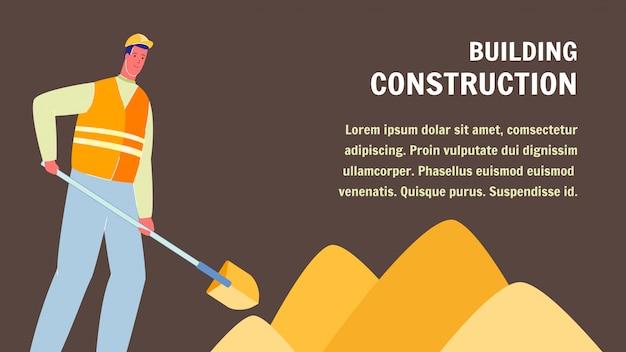 Banner de web de construção civil com espaço de texto