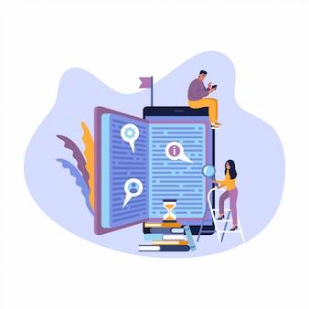 Banner de web de estilo design plano para aplicativos de educação, cursos de formação on-line, educação a distância. conceito de ilustração para web design, marketing e material de impressão.