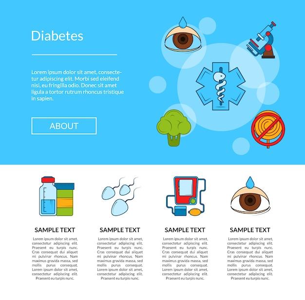 Banner de web de ícones coloridos de diabetes