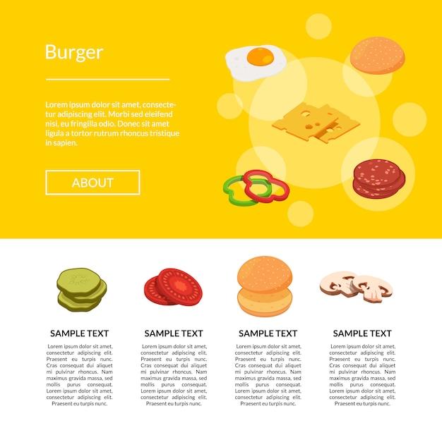 Banner de web de ingredientes isométrico hambúrguer