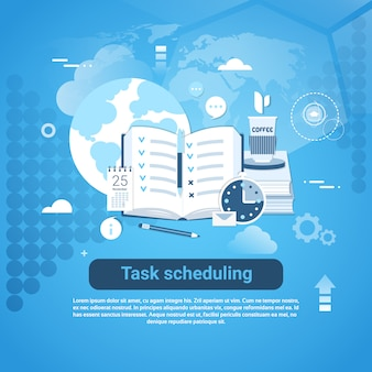 Banner de web de modelo de agendamento de tarefas com espaço de cópia