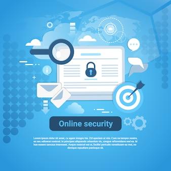 Banner de web de modelo de segurança on-line com espaço de cópia