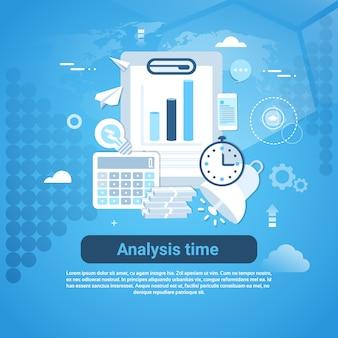 Banner de web de modelo de tempo de análise com espaço de cópia