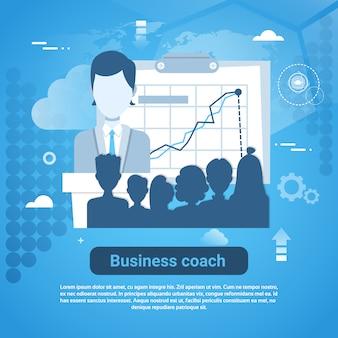 Banner de web de modelo de treinador de negócios com cópia espaço