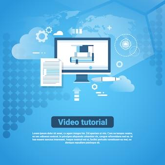 Banner de web de modelo de tutorial de vídeo com espaço de cópia