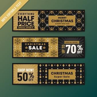 Banner de web de natal tema cor ouro