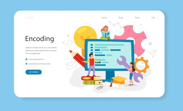 Banner de web de programação ou página de destino. educação em ti