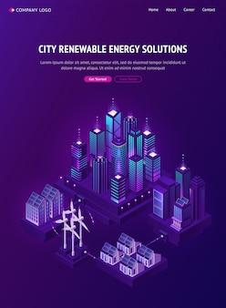 Banner de web de soluções de energia renovável de cidade inteligente