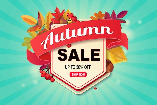 Banner de web de venda outono com folhas caindo.