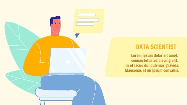 Banner de web de vetor de cientista de dados com espaço de texto
