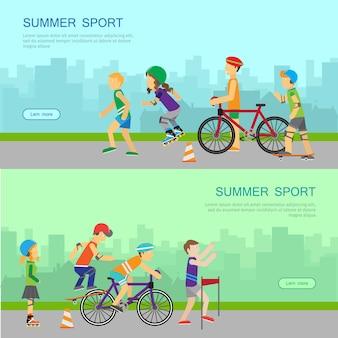 Banner de web de vetor de esporte de verão em design plano