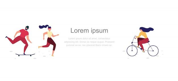 Banner de web de vetor plana de estilo de vida ativo de pessoas
