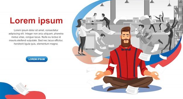 Banner de web do cartoon de curso de resistência ao estresse de trabalho