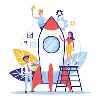 Banner de web do conceito de inicialização e trabalho em equipe. lucro do negócio