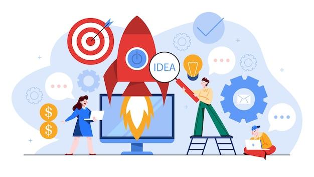 Banner de web do conceito de inicialização e trabalho em equipe. lucro empresarial e crescimento financeiro. estratégia de sucesso. ilustração em estilo cartoon