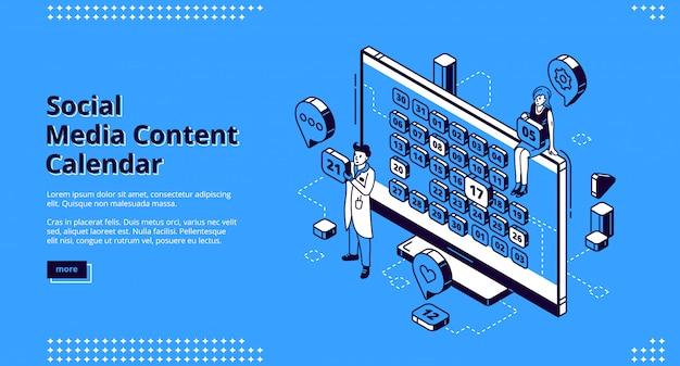 Banner de web isométrica de calendário de conteúdo de mídia social