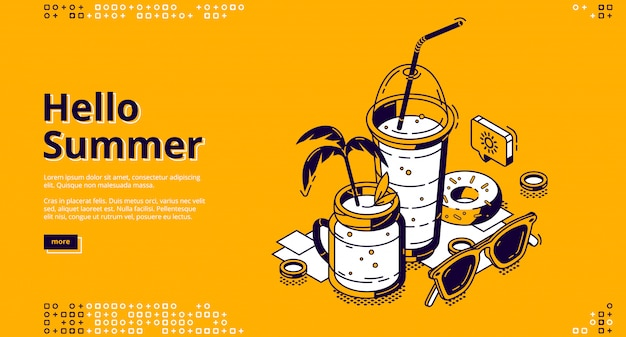 Banner de web isométrica de coquetéis milkshake