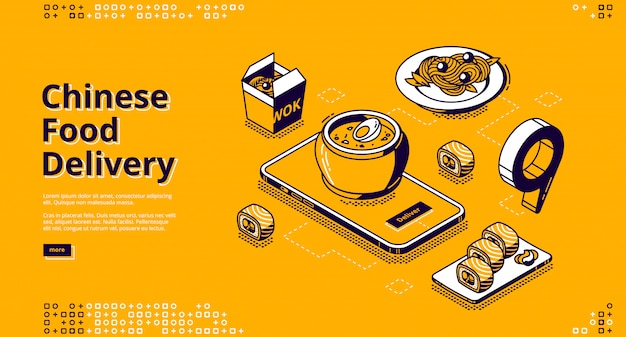 Banner de web isométrica de entrega de comida chinesa