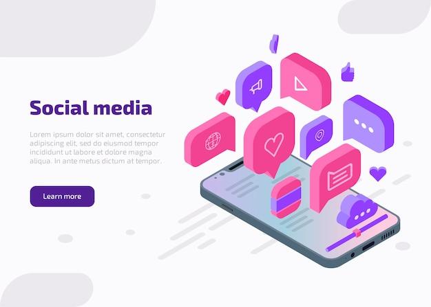 Banner de web isométrica de marketing de mídia social, modelo de página de destino. conceito de influenciador com ícones como, bate-papo, vídeo, música, coração, nuvem, internet na tela do smartphone.