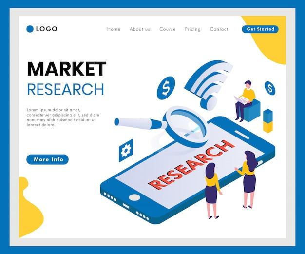Banner de web isométrica de pesquisa de mercado