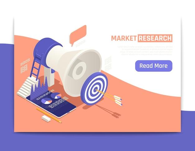 Banner de web isométrico de pesquisa de mercado com grande alto-falante e setas no centro do alvo