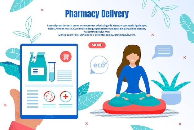 Banner de web plana de entrega de farmácia ecológica