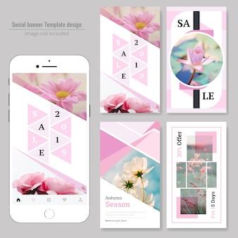 Banner de web social natural de venda de produtos