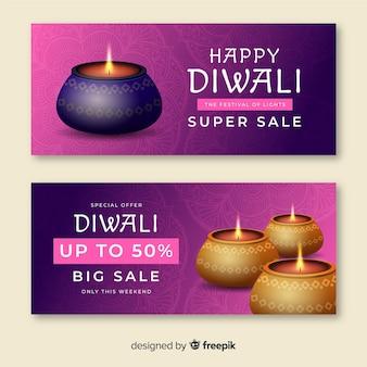 Banner de web super venda festival de diwali