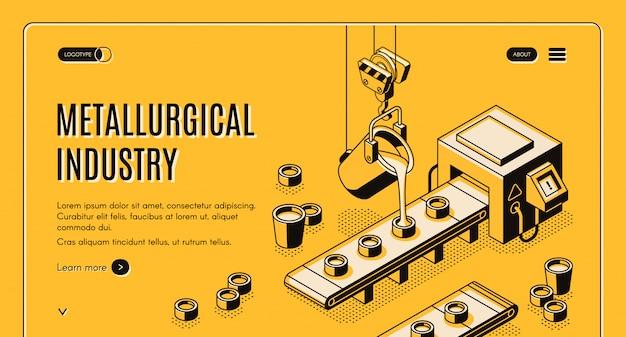 Banner de web vector isométrica empresa metalúrgica indústria com derramando metal fundido de aço ladl